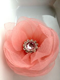 6 pieces light coral  smoky organza  flowers with pink by bidesign, $24.00