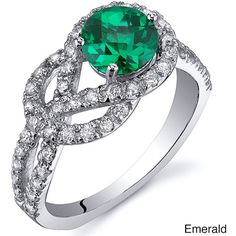 Oravo Sterling Silver Round Prong-set Gemstone and Cubic Zirconia Ring (160 RON) ❤ liked on Polyvore featuring jewelry, rings, green, cubic zirconia band rings, infinity rings, gemstone band rings, cz rings and sterling silver infinity ring