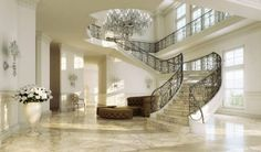Charming Pure Rendering. Living Room Ideas Grand Staircase, Modern Staircase,  Staircase Design, Stair Design, Luxury