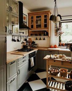 Kitchen Cabinets Decor, Kitchen Reno, Kitchen Interior, Kitchen Dining, Kitchen Remodel, Bohemian Kitchen, Hygge Home, Interior Decorating, Interior Design