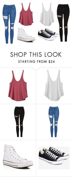 """""""Untitled #482"""" by cuteskyiscute on Polyvore featuring RVCA, Topshop and Converse"""