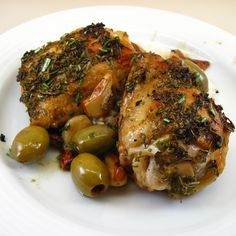 Roast Chicken With Caramelized Lemons, Cherry Tomatoes And Olives ...
