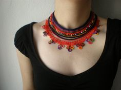 Emilia Fosbergii  ... Beaded Crochet Necklace - Bright Red - Colorful Flowers. $142,00, via Etsy.