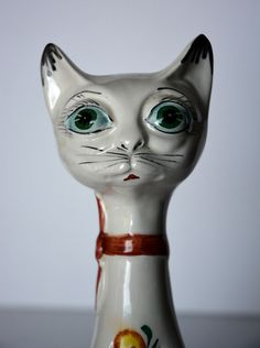 Retro long necked Siamese porcelain Cat. Hand painted Floral design 1950/60's | eBay
