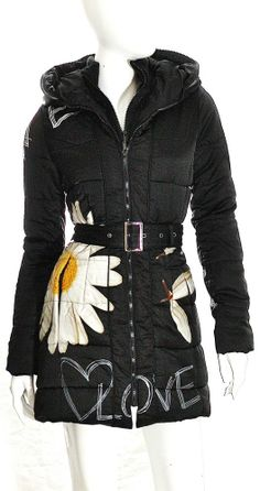 Desigual Coat  NWT SZ 6 / 38 Black White Multicolor Graphic Design Front Zipper