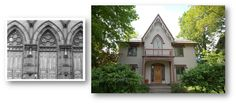 """Gothic Revival  c. 1840 – 1875.  Steep pitched roof with cross   gable.  Pointed arch windows.  Leaded glass.  """"Gingerbread"""" trim at gables   and porches."""