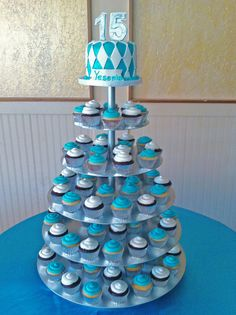 turquoise and silver 15th birthday cupcake tower by Simply Sweets, via Flickr