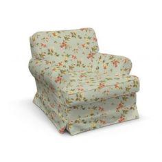 Poťah na kreslo Barkaby, tkanina:124-65 jemné ružovozelené kvety na zelenkavomodrom podklade, Kolekcia Londres    #potah#kreslo#IKEA#kvety Ikea, Accent Chairs, Armchair, Designer, Inspiration, Furniture, Modern, Home Decor, Chesterfield