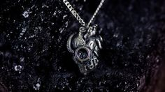 Steampunk heart  - Mechanical -Anatomy - silver chain - box- shine silver