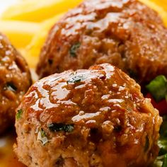 This baked chicken meatballs recipe makes moist juicy delicious meatballs that are especially tasty served with rice.. Baked Chicken Meatballs Recipe from Grandmothers Kitchen.