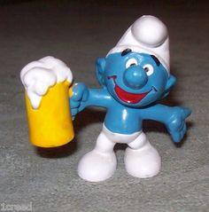 Vtg Smurf Holding Mug of Brew Figurine 1975 Schleich-Peyo Collectible Smurfs  $37.00