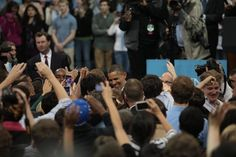 President Obama shakes hands with students after the speech.