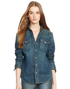 Denim Western Shirt - Polo Ralph Lauren Long-Sleeve - RalphLauren.com  Pintar 103710618f0a4