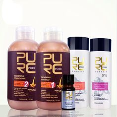 PURC brazilian keratin hair straightening treatment 5%+ formalin keratin set + hair shampoo and hair conditioner for hair loss //Price: $80.86 & FREE Shipping //   #BestSkinCareProducts