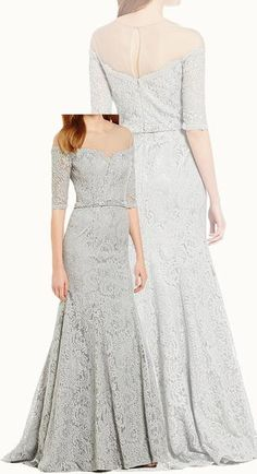 Meremaid Off the Shoulder Lace Evening Gown Silver Mother of the Brides Dress