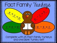 Your students will LOVE this festive fact family activity. Students use numbers on the turkey's body to write fact families on the feathers. They then color, cut and paste! This pack includes 25 fact family turkeys and one blank turkey so students can create their own fact family!