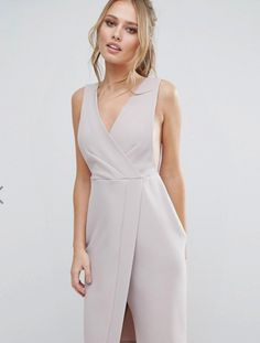 Closet V Neck Wrap Front Midi Dress  http://us.asos.com/closet-london/closet-v-neck-wrap-front-midi-dress/prd/7497141?iid=7497141&clr=Gray&SearchQuery=gray%20cocktail%20dress&pgesize=27&pge=0&totalstyles=27&gridsize=4&gridrow=4&gridcolumn=2