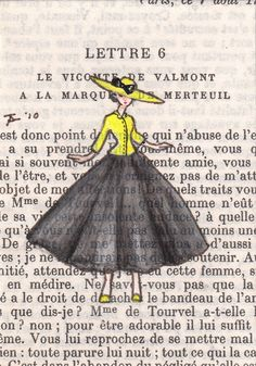 French Lady painted on vintage book page - ©Jess Purser: Castle On The Hill (via Etsy)
