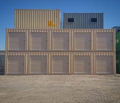 Pac-Van's custom storage container options include roll-up doors, overhead lighting, electrical outlets and more. Shipping Container Storage, Shipping Container Buildings, Storage Containers, Shipping Containers, Container Cabin, Container House Design, Container Homes, Self Storage, Barn Storage