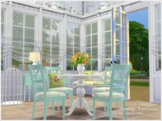 Created By Severinka Spring Terrace Created for: The Sims 4 Set building objects, the furniture and decor to design terraces, verandas or dining room, delicate light colors in the shabby style. The...