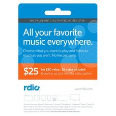 Rdio $30.00 Unlimited Music Gift Card