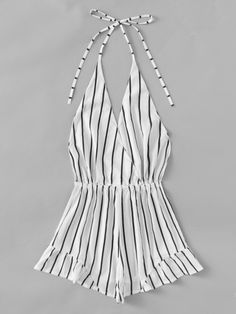 Shop V-neckline Stripe Drawstring Waist Frill Surplice Romper online. SheIn offers V-neckline Stripe Drawstring Waist Frill Surplice Romper & more to fit your fashionable needs. Teen Fashion Outfits, Mode Outfits, Trendy Outfits, Summer Outfits, Womens Fashion, Mode Rock, Plus Size Jumpsuit, Romwe, Fashion News
