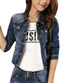 5e6c0e9e0663 Damen Jeansjacke Übergangsjacke Leichte Jacke Knopfverschluss Denim Jacket  Blau S - Jeansjacke frauen jeansjacken damen jeans
