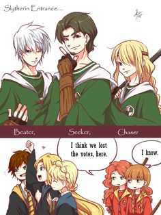 "ysue-chan: ""- TODAY'S MACTH: SLYTHERIN vs GRYFFINDOR - [[ HP AU…… still not start the game yet. Art mine.]] """