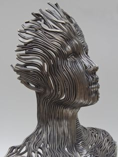 """The Visionary Art of Gil Bruvel  -  Dichotomy: 28""""H x 14""""D x 27""""W, Stainless Steel"""
