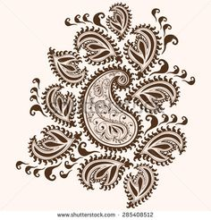 Hand-Drawn Henna Mehndi Abstract Mandala Flowers and Paisley Doodle Vector Illustration Design Elements