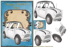 A lovely Fancy Blue card front, with a Fancy Scroll topper in the center and a Classic Mini Cooper. With extra layers to decoupage and a small topper for the reverse of your card. This will make a great A5 Father's Day card for all Dad's who love their Classic cars.  There is a insert to match this sheet cup 439054_846
