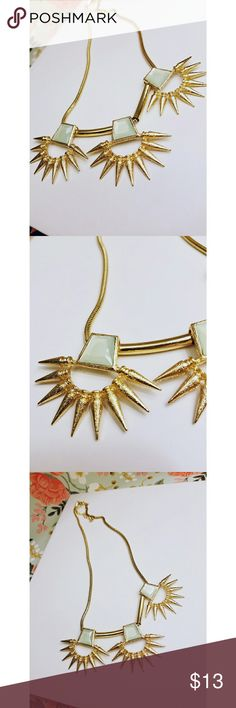 Gold and aqua sunburst necklace New Gold tonned 21 inches long Jewelry Necklaces