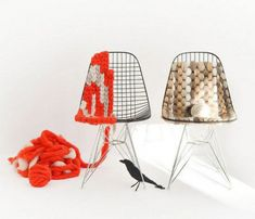 cool! weave thick yarn into chairs to change the look!
