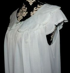 Blue Shadowline Nightgown Sweet Collar by roosvintagetreasures, $35.00