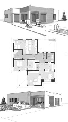 Bungalow House Plans Modern Contemporary European Design Ideas with One Story, 3 Bedroom & Flat Roof Sims House Plans, Dream House Plans, House Floor Plans, Modern Bungalow House Plans, Bungalow Haus Design, Roof Architecture, Residential Architecture, Architecture Drawings, Unique House Design