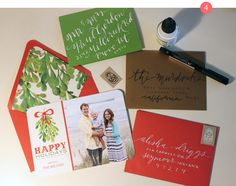 Fancy up your Christmas card envelopes with these suggestions and inspiration. Via Caitlin Wilson