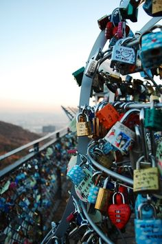 Love Locks - You hang locks on it with the name of you & your boyfriend/girlfriend/best-friend then throw the key - NamSan Park in Seoul, Korea