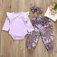 df920ea54 3-piece Lace Trim Floral Romper Pants with Bows Headband in Purple