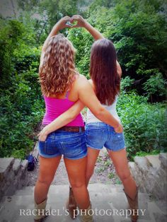 Best friend pictures. Arms around eachother with the heart-and cowgirl boots-What could be a better idea?!?
