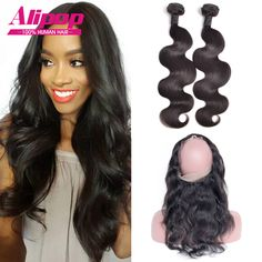 Pre Plucked 360 Lace Frontal With Bundles,Indian Body Wave With Closure,360 Lace Frontal Closure With Bundles 100% Human Hair //Price: $151.06 & FREE Shipping //     #hairextension #style #beauty #woman #love