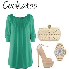 Cockatoo colored cocktail dress with nude & gold accessories. Created by: www.myhautehabit.com