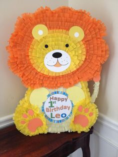This Lion Pinata is so cute and holds tons of goodies. This listing is for a custom-made traditional hit pinata. The pinata measures 26 x 20 x 5. For an additional $5 I can make it a pull string, please add this listing to your cart when placing your order and indicate how many strings you