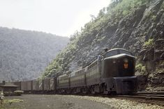A trio of sharks round Horseshoe Curve one of the crew checks out the kids playing track side. Pennsylvania Railroad, Old Trains, Diesel Locomotive, Vintage Travel, Past, Sharks, World, City, Photos