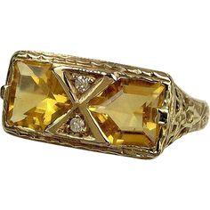 14k Yellow Gold Citrine & Diamond Ring, Size 8.