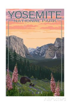 Yosemite National Park, California - Bear and Cubs with Flowers Giclee Gallery Print, Wall Decor Travel Poster) >>> See this great image : Kitchen Table Linens California National Parks, California Art, Us National Parks, Yosemite National Park, California Travel, Southern California, Retro Poster, Vintage Travel Posters, Vintage National Park Posters