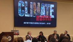 """A panel discussion ahead of a screening of """"Climate Hustle"""" included (from left) Brent Bozell, Sarah Palin, David Legates and Marc Morano (the filmmaker)."""