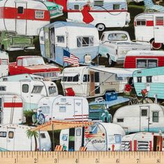 Vintage Trailers Packed Trailer Multi from @fabricdotcom  Designed by Page Bridges for Elizabeth's Studio, this cotton print is perfect for quilting, apparel and home decor accents. Colors include white, black, grey, red, aqua, shades of green, shades of brown and shades of blue.