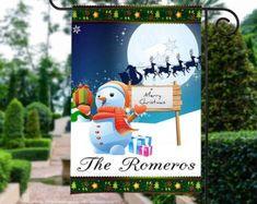 Adorable Snowman Garden Flag or Door Hanger.Perfect this holiday season. Christmas Garden Flag, Garden Flags, Burlap, Hanger, Applique, Monogram, Bows, Unique Jewelry, Christmas Ornaments