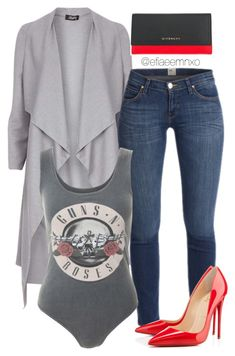 """""""Guns & Roses"""" by efiaeemnxo ❤ liked on Polyvore featuring Dorothy Perkins, Crafted, Christian Louboutin and Givenchy"""