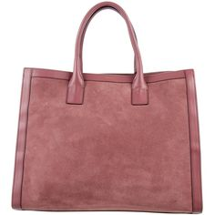 Pre-owned AERIN Suede Satchel ($625) ❤ liked on Polyvore featuring bags, handbags, pink, red suede handbag, red satchel purse, red suede purse, man bag and red hand bags